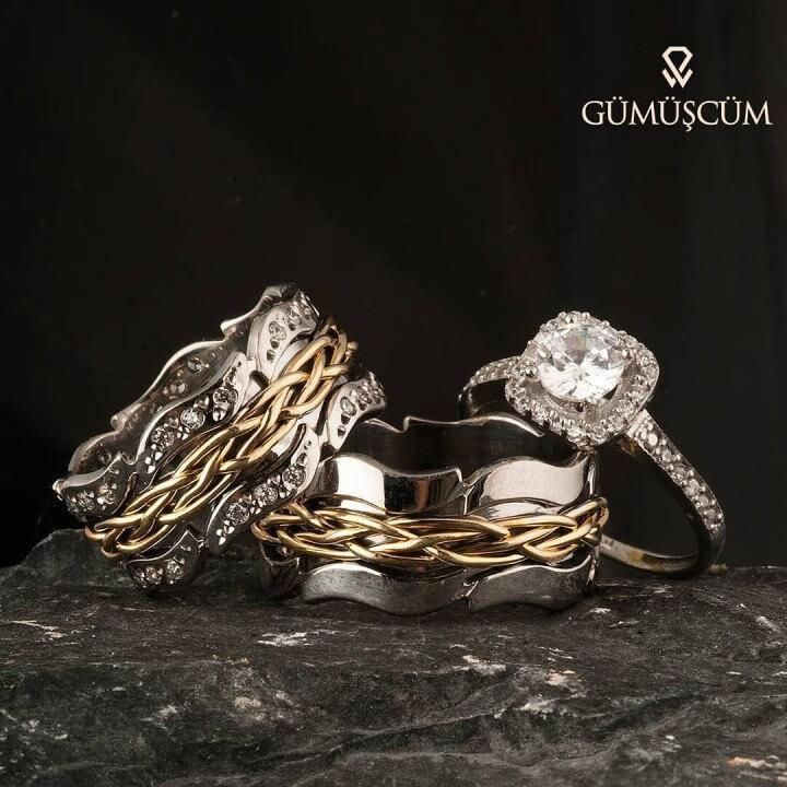 Oymalı Örgü Gümüş Alyans Modeli Altın Kaplama Bay Alyans