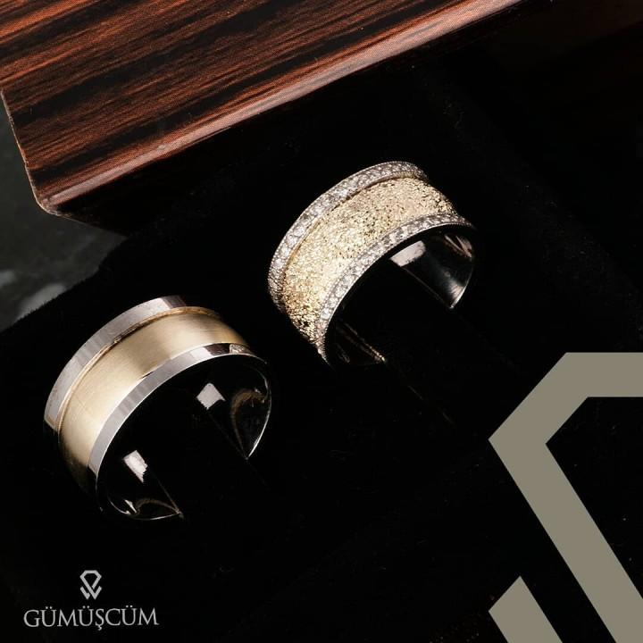 Simli Taşlı Altın Kaplama Bombeli Gümüş Alyans Çifti