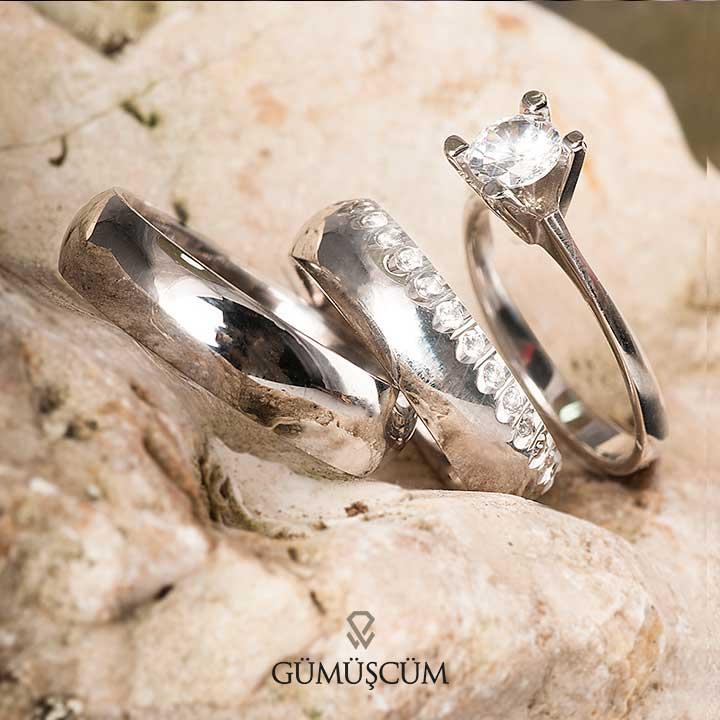 Sıra Taşlı Bombeli Gümüş Alyans Modeli Nişan ve Söz Yüzükleri