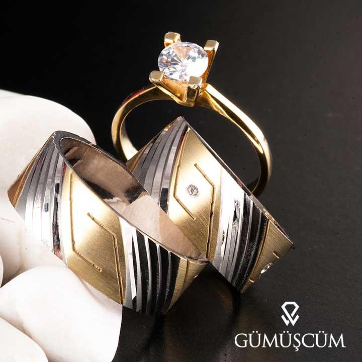 Kalemli Greek  Model Bay Gümüş Alyans