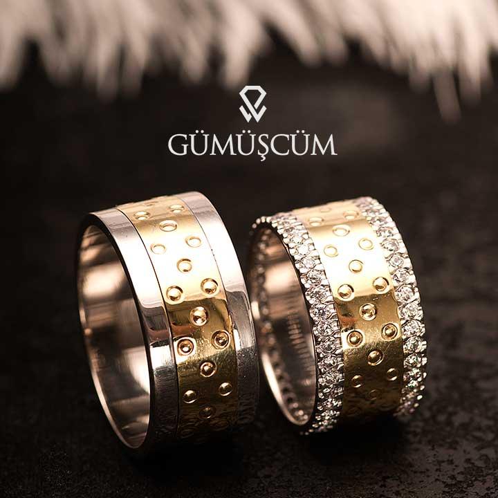 Artemis Gümüş Alyans Modeli Altın Kaplama Alyans Çifti