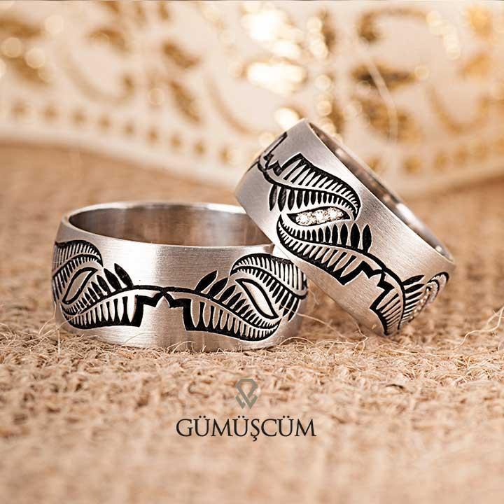 Kanat  Modeli Taşlı Gümüş Alyans Çifti
