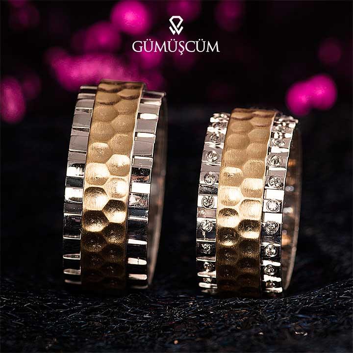 Zümrüt Gümüş Alyans Modeli Altın Kaplam Bayan Alyans