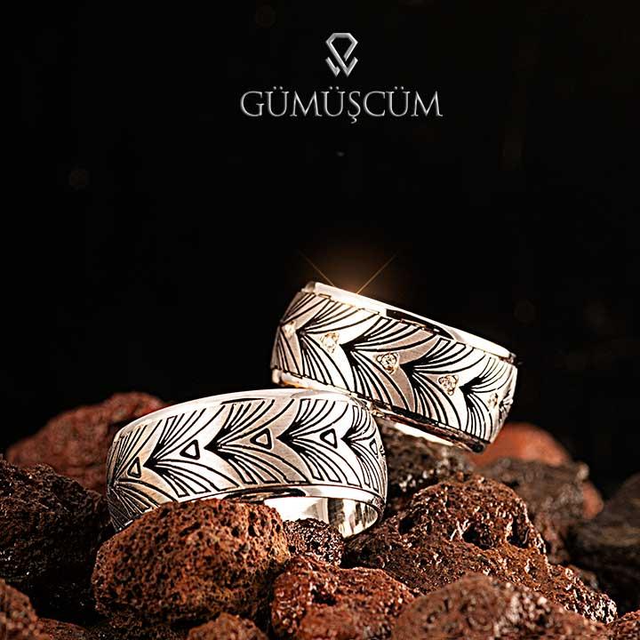 Yaprak Modeli Gümüş Alyans Çifti