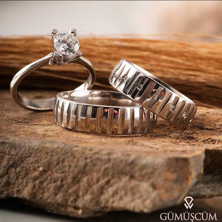 Asya Modeli Gümüş Alyans Çifti