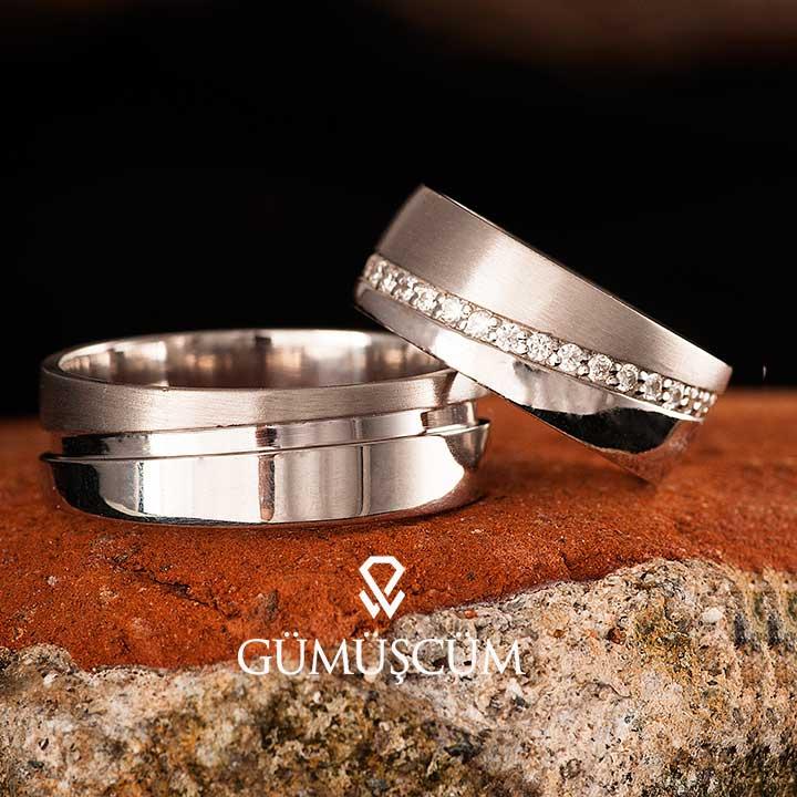 Işıltılı Yol Modeli Gümüş Alyans Çifti