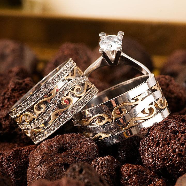 Poyraz Gümüş Alyans Modeli Taşlı Alyans Çifti