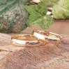 Bombeli 4mm Altın Kaplama Gümüş Alyans Çifti Söz ve Nişan Yüzüğü
