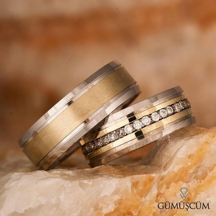 Burçak Gümüş Alyans Modeli Altın Kaplama Bay Nişan Yüzüğü