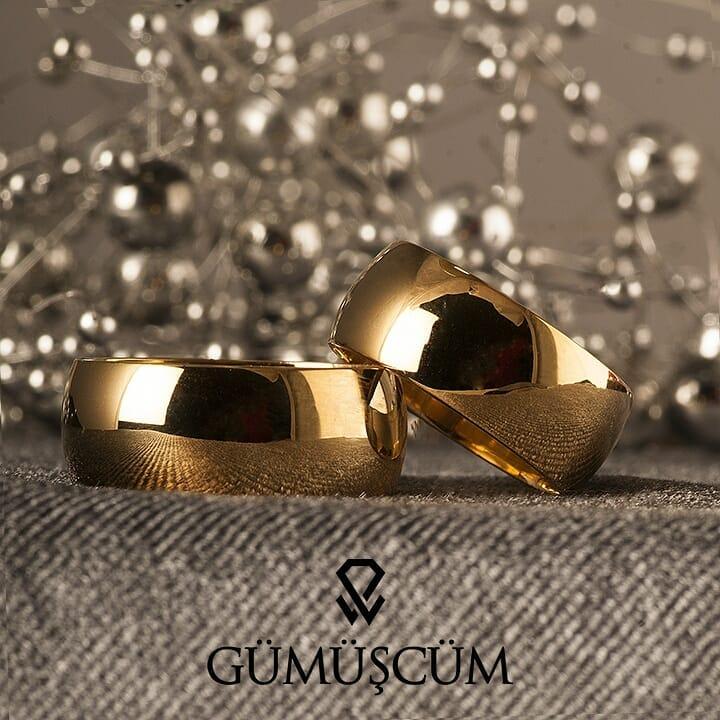 Altın Kaplama 8 mm Bombeli Bayan Gümüş Alyans Modeli Alyans