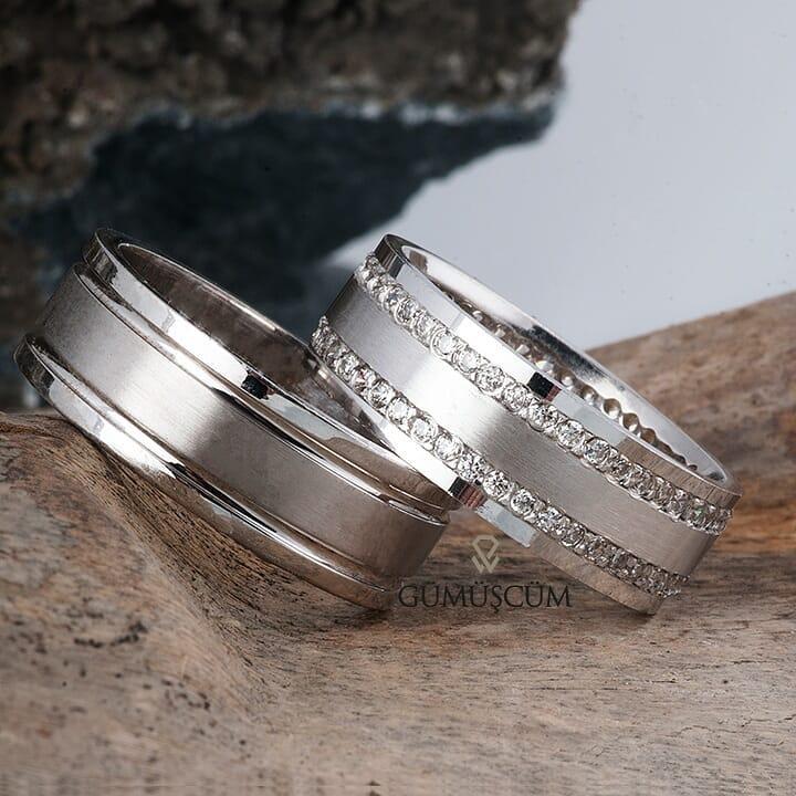 Oryon Gümüş Alyans Modeli Taşlı Alyans Çifti