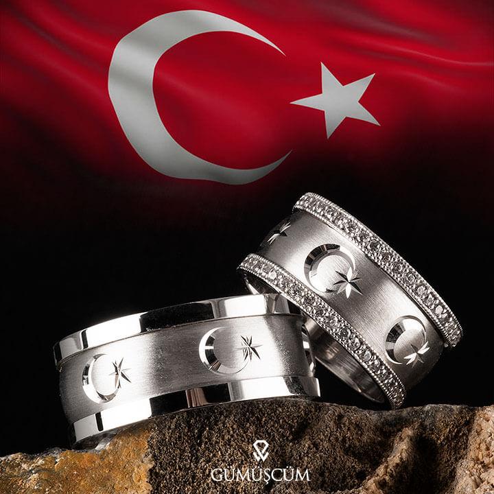 Ay Yıldız Gümüş Alyans Modeli Bayrak Alyans Çifti