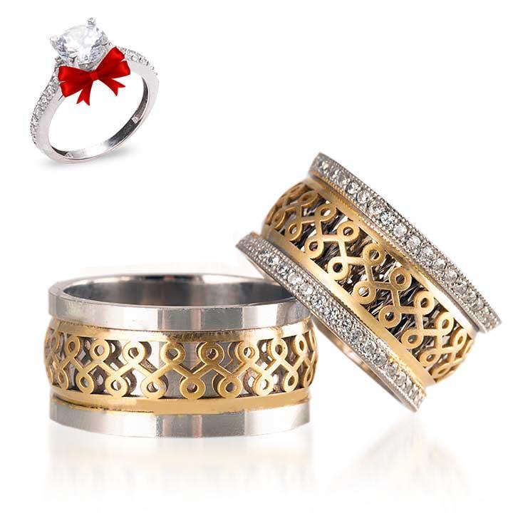 Sonsuzluk Işıltılı Modeli Gümüş Alyans Çifti