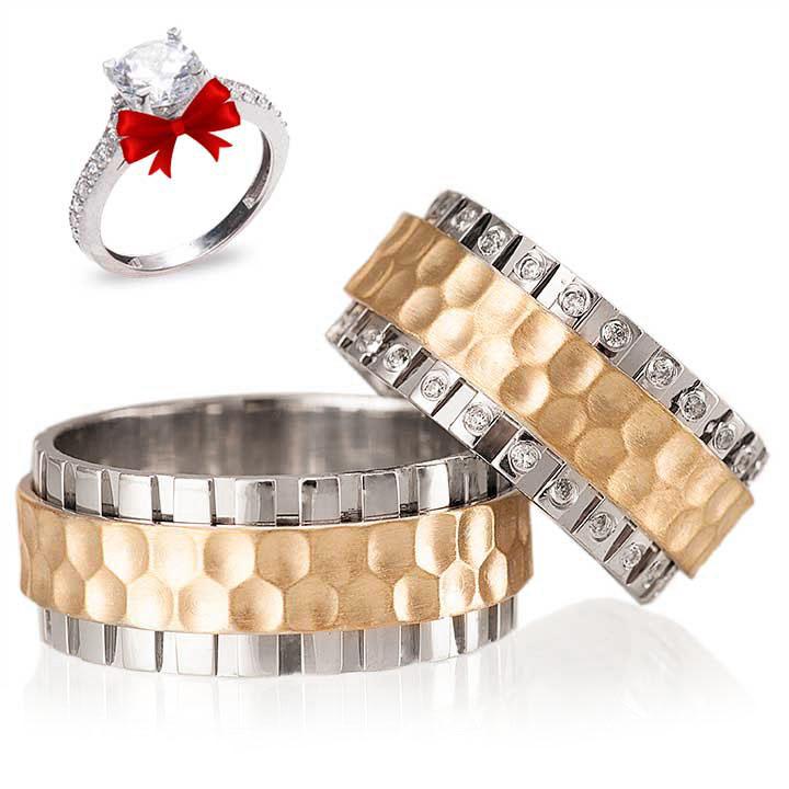 Zümrüt Gümüş Alyans Modeli Altın Kaplam Alyans Çifti