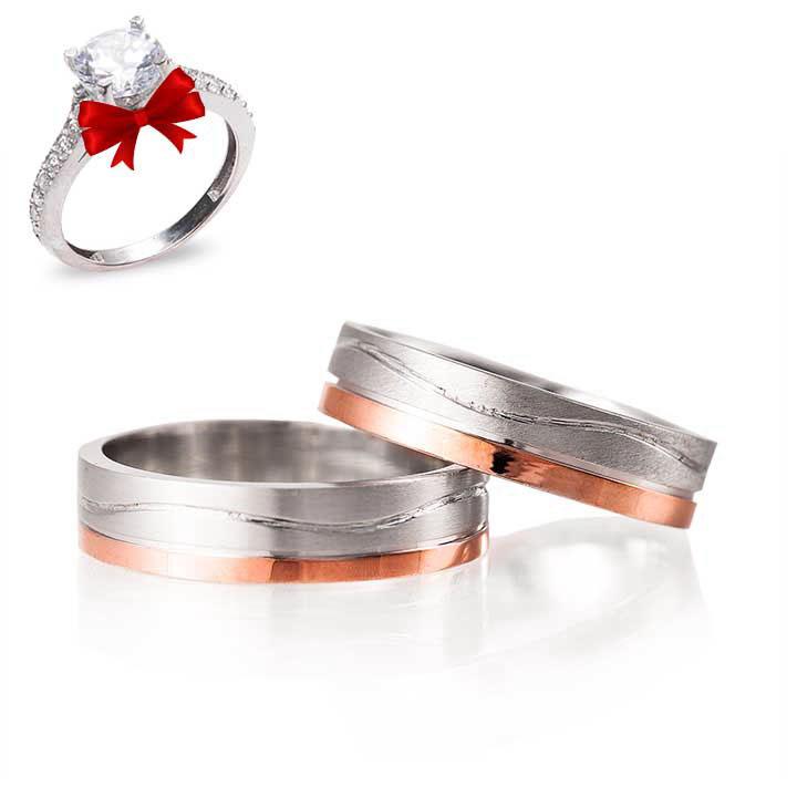Beta Modeli Gümüş Alyans Çifti Rose Söz Yüzüğü
