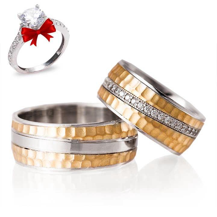 Five Gümüş Alyans Modeli Altın Kaplama Taşlı Alyans Çifti