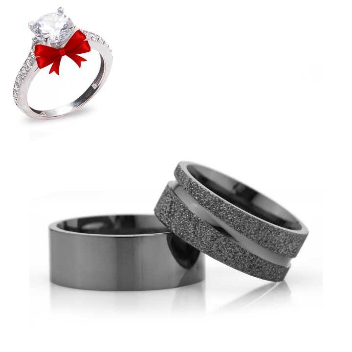 Siyah 8mm Gümüş Alyans Modeli Çizgili Nişan Yüzüğü
