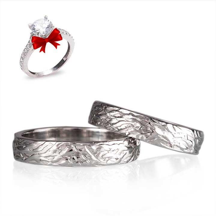 Ağaç Kabuğu Gümüş Alyans Çifti Nişan ve Söz Yüzüğü