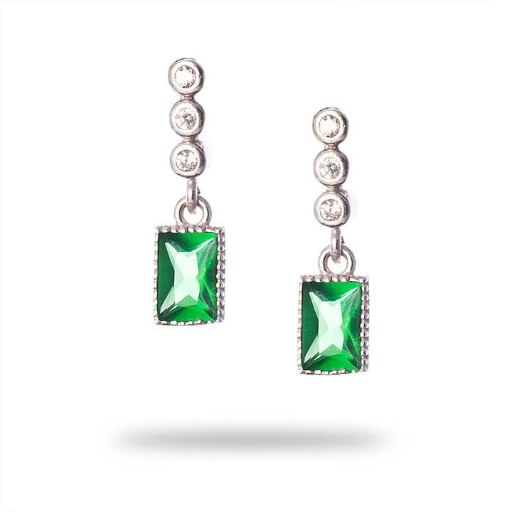 Yeşil Baget Gümüş Küpe