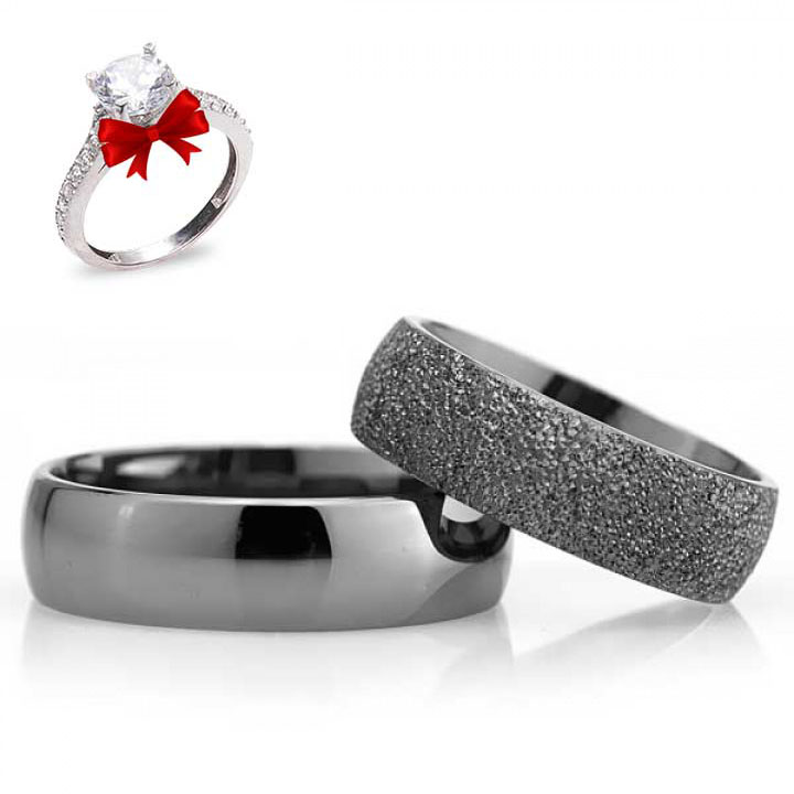 Bombeli Siyah 6mm Gümüş Alyans Çifti Nişan ve Söz Yüzüğü