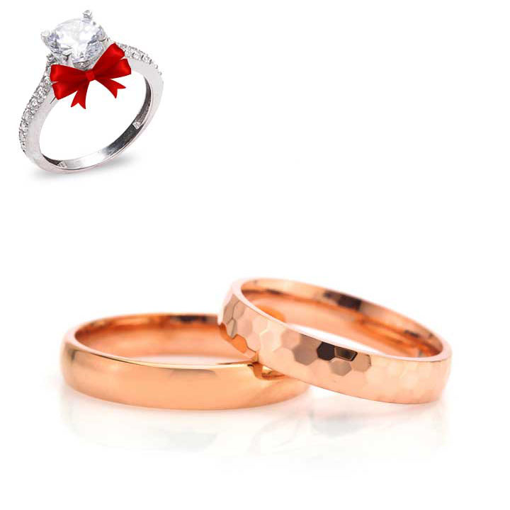 Rigel Gümüş Alyans Modeli Bombeli Rose Söz Yüzüğü