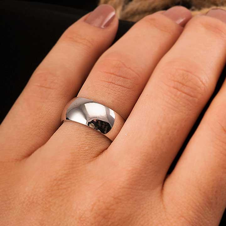 Bombeli 8mm Bayan Gümüş Alyans Nişan ve Söz Yüzüğü