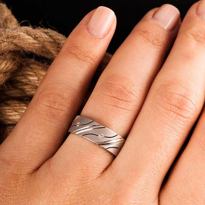 Alara Gümüş Alyans Modeli Taşlı Alyans Çifti