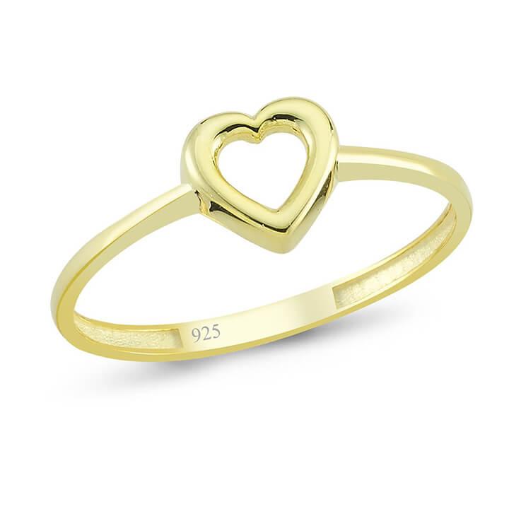 Kalp Altın Kaplama Gümüş Yüzük